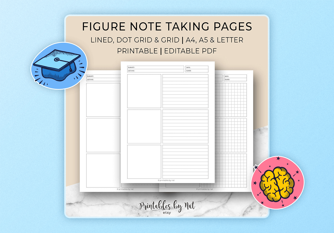 An image depicting a variet of lined, doted, and grid-based note-taking pages.
