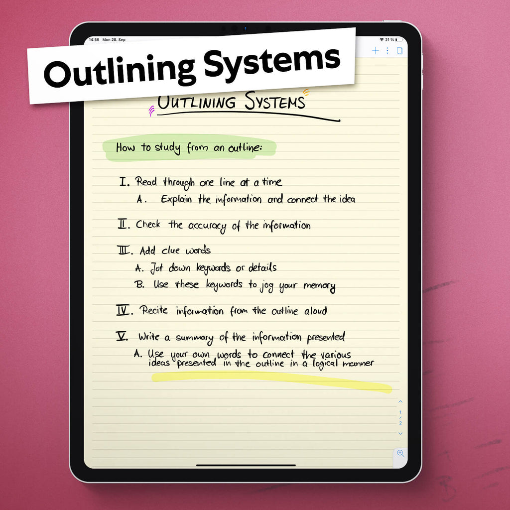 Image of an iPad with a document using an Outlining System to take notes