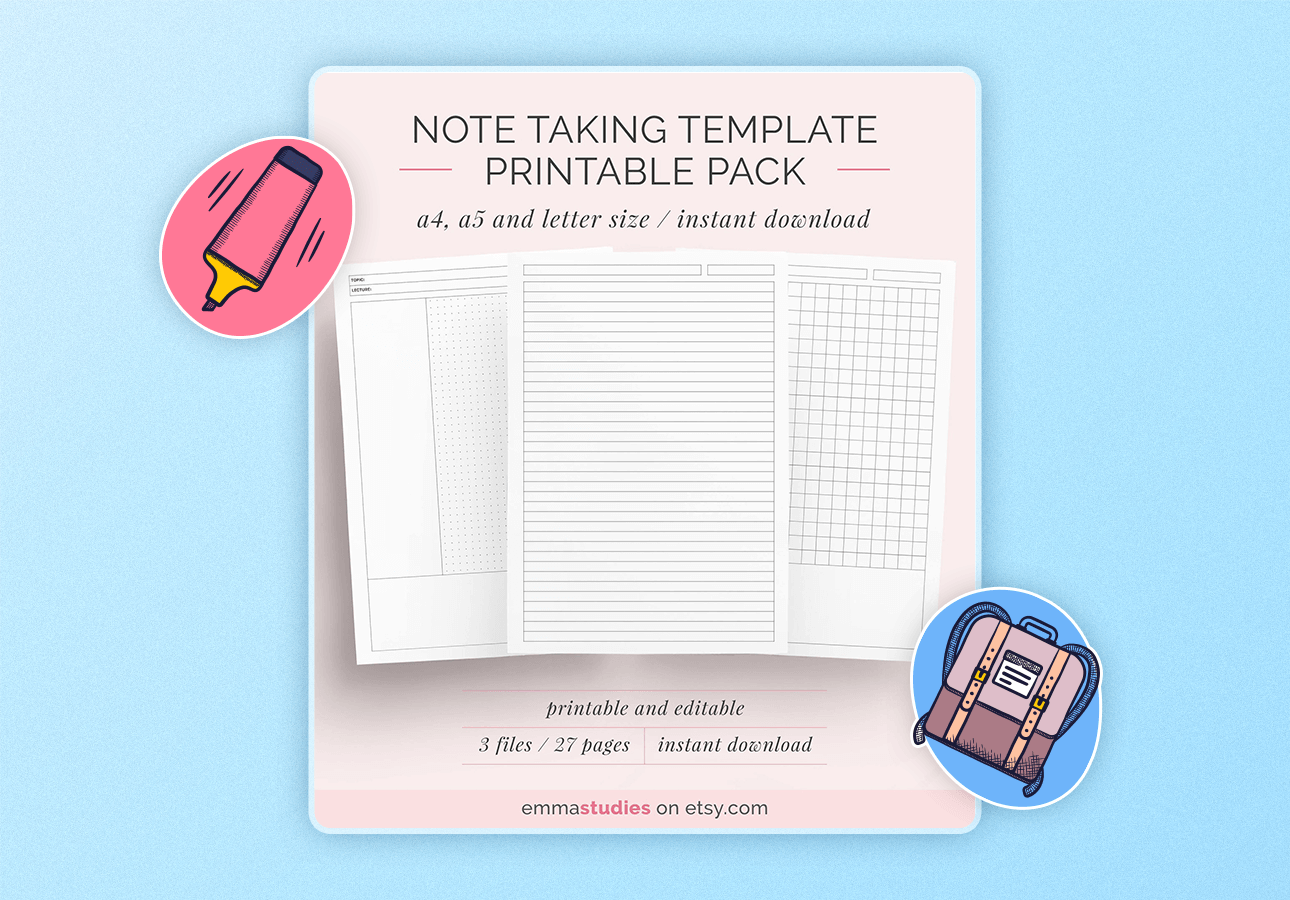 An image depictin a note-taking template pack for A4, A5, and letter-sized paper.