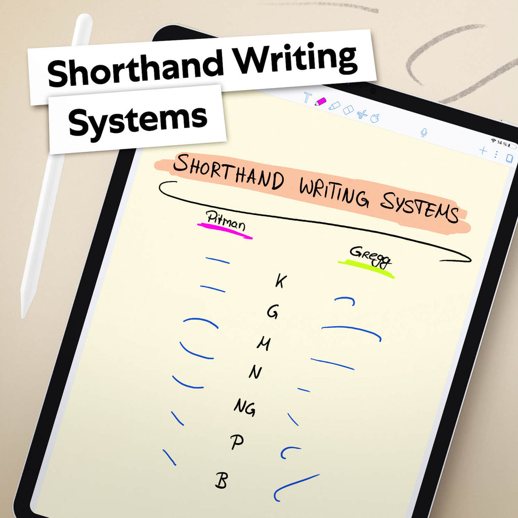 Image of an iPad with a document using a Shorthand Writing System to take notes
