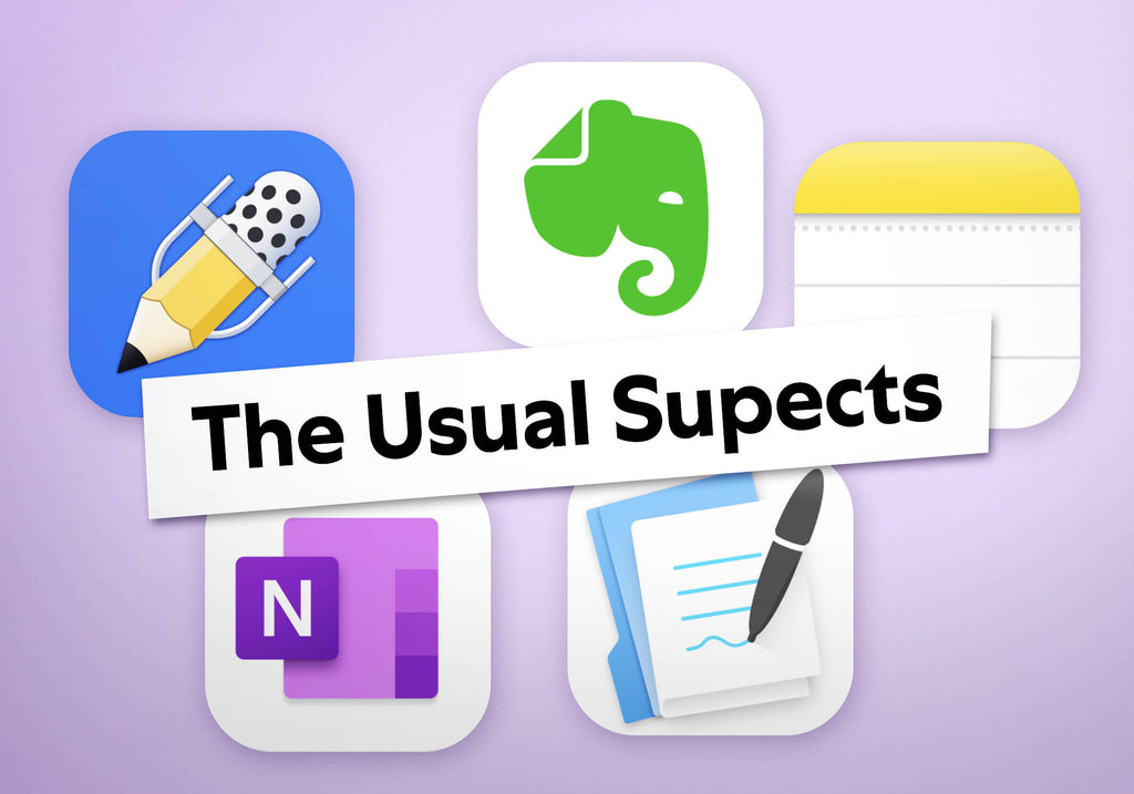 Image of the usual supects of note taking apps