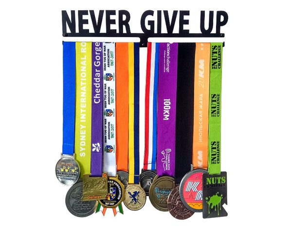 """Never Give Up"" Iron Medal Hanger (Secure and Sturdy)"