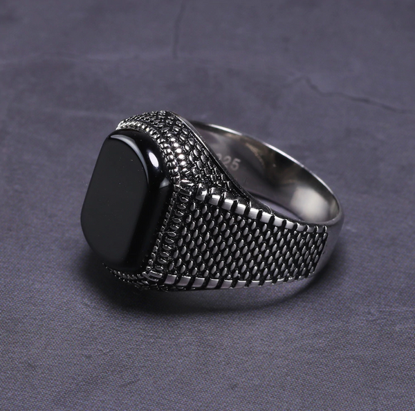 925 Sterling Silver Mens Rings Natural Onyx Stone