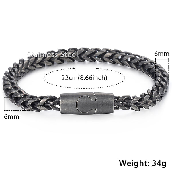 Link Chain Bracelet Stainless Steel Magnetic Clasp Black Tone 6mm