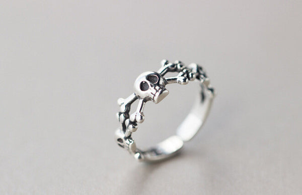 100% Real Pure 925 Sterling Silver Skull & Bones Ring