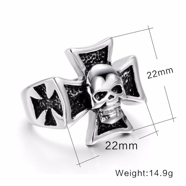Stainless Steel Iron Cross with Skull