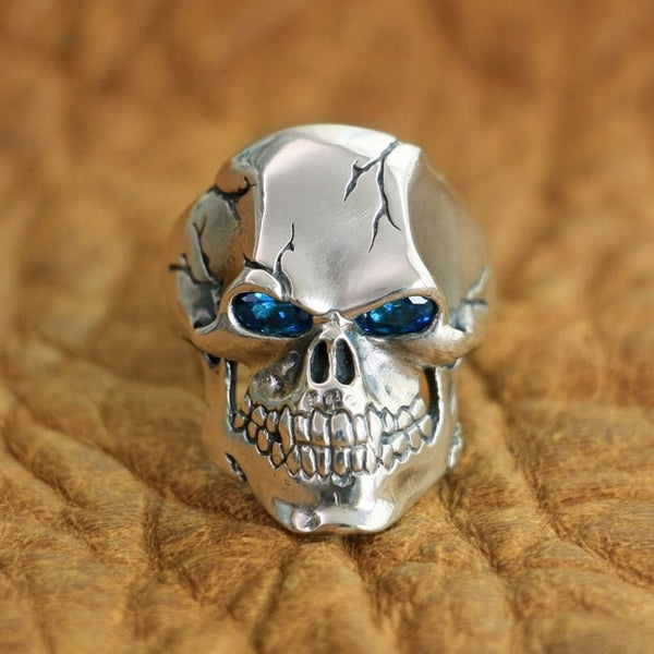925 Sterling Silver CZ Eyes Skull Ring