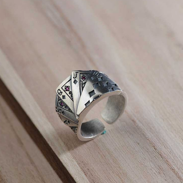 Poker Ring Solid 925 Silver Rings