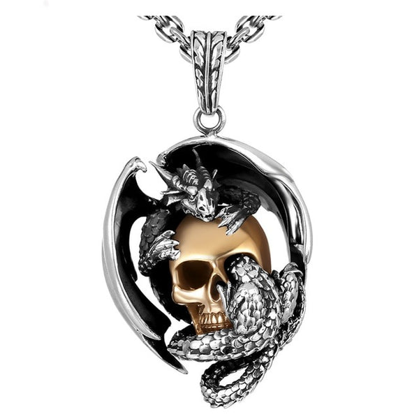 925 Silver Dragon with Gold Color Skull Pendant Necklace