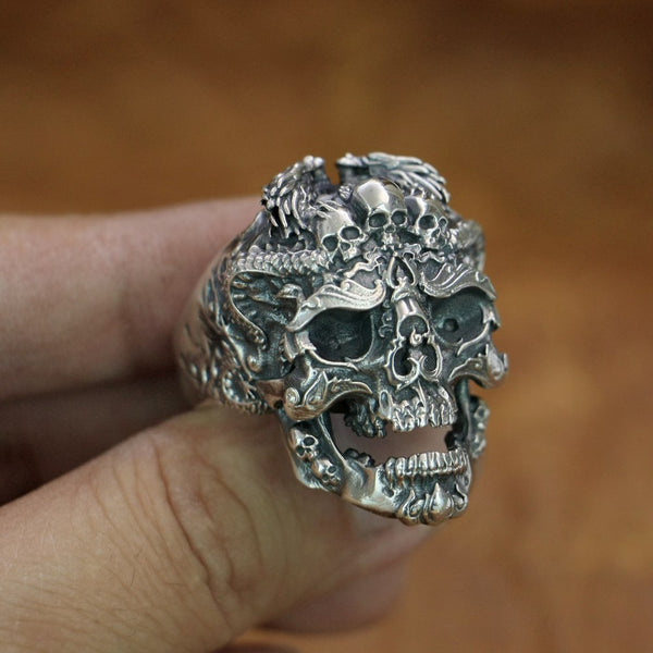 925 Sterling Silver High Details Dragon Skulls Ring