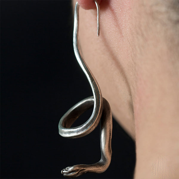 Handmade 925 Silver Snake Earrings