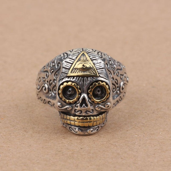 100% Real Pure 925 Sterling Silver Jewelry Retro Style Skull