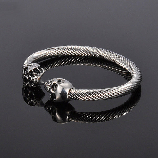 Antique Stainless Steel Skull Bracelet