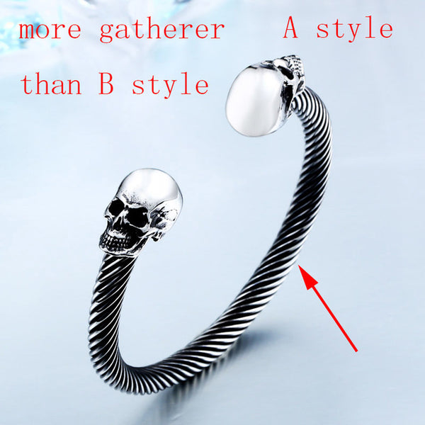 high quality double skull bangle stainless steel