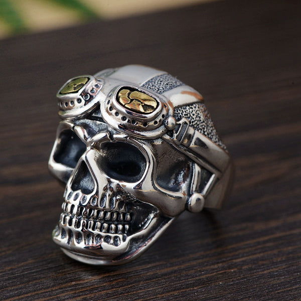 Thai Silver Skull Ring - 100% S925 Sterling Thai Silver Rings for Men Adjustable Size