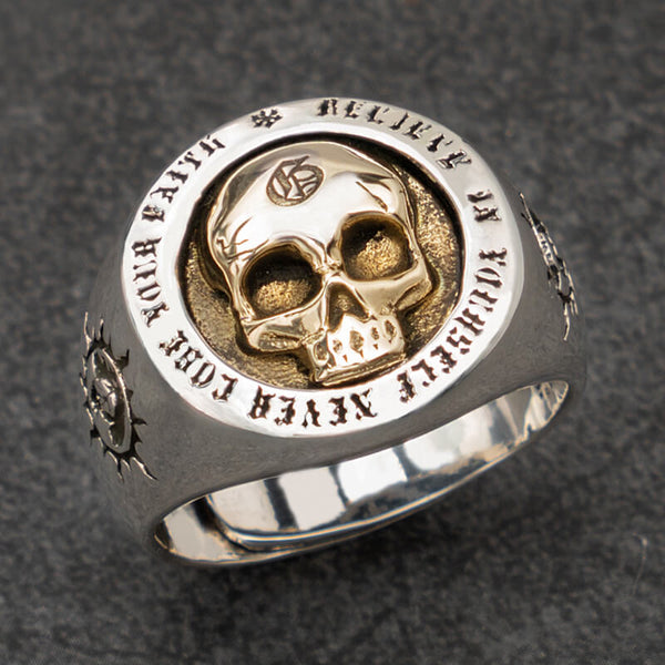"925 STERLING SILVER SKULL RING ""Believe in yourself, Never lose your faith"" 💀"