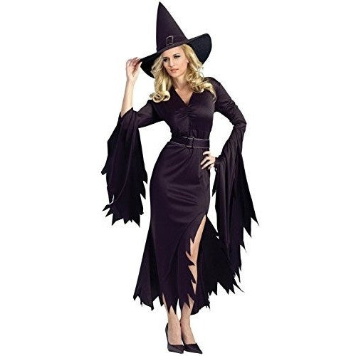 All Black Gothic Witch Long Halloween Fancy Dress Costume Frockndoll