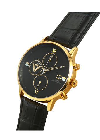 Edict Watch - Black and Gold with Leather