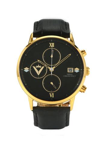 Edict Watch- Black and Gold with Leather