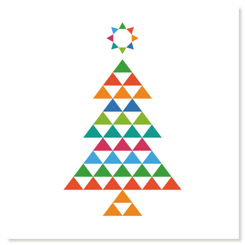 Image on front of card shows colourful Christmas Tree