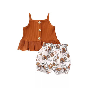 Brown Top & Floral Shorts