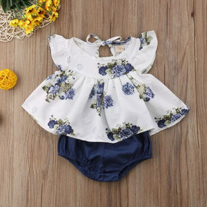 White Floral Top & Navy Bottom - Mom and Bebe Ph