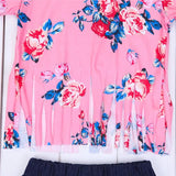 Pink Floral Top Denim Shorts - Mom and Bebe Ph