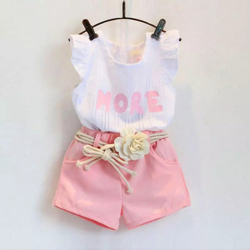 White Top Shorts Belt Set - Mom and Bebe Ph