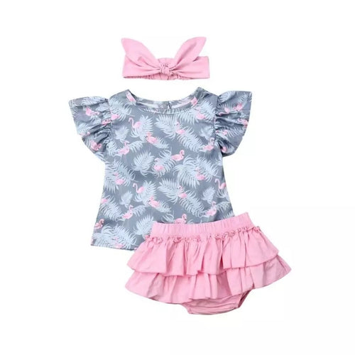 Flamingo Top Skirt Set