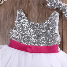 Load image into Gallery viewer, White Silver Sequin Tutu Dress + Headband - Mom and Bebe Ph