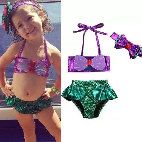 Mermaid 2pc Swimsuit Headband