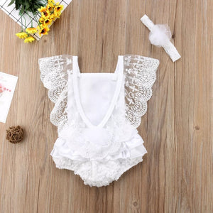 White Lacey Romper + Headband - Mom and Bebe Ph