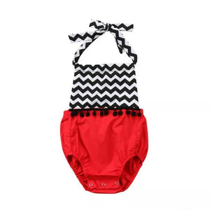 Zigzag Print Red Romper - Mom and Bebe Ph