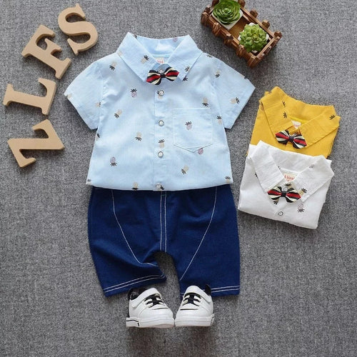 Little Gentleman Shirt + Shorts - Mom and Bebe Ph