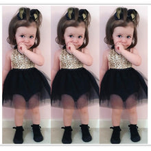 Load image into Gallery viewer, Gold Sequin Black Tutu Dress - Mom and Bebe Ph