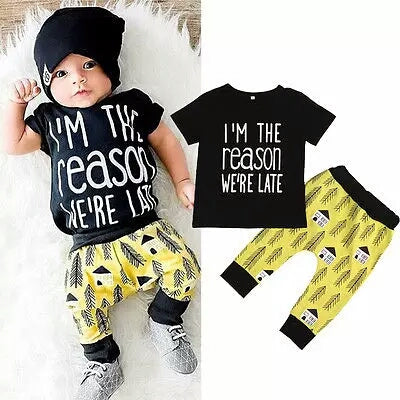 Black Tshirt & Yellow Print Pants - Mom and Bebe Ph