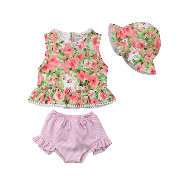 Floral Top Hat & Pink Shorts