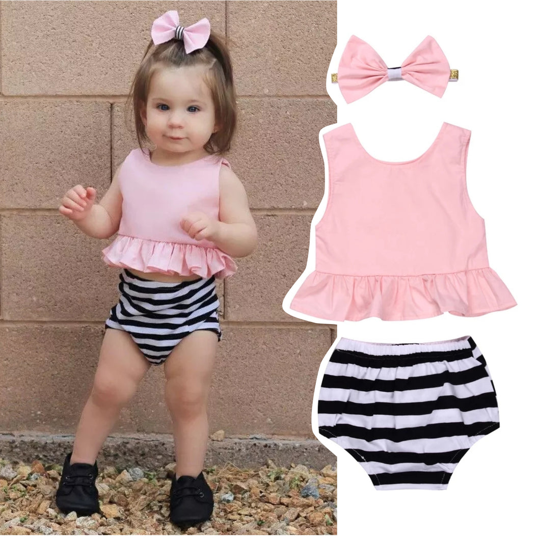 Pink Top Stripe Shorts Headband Set