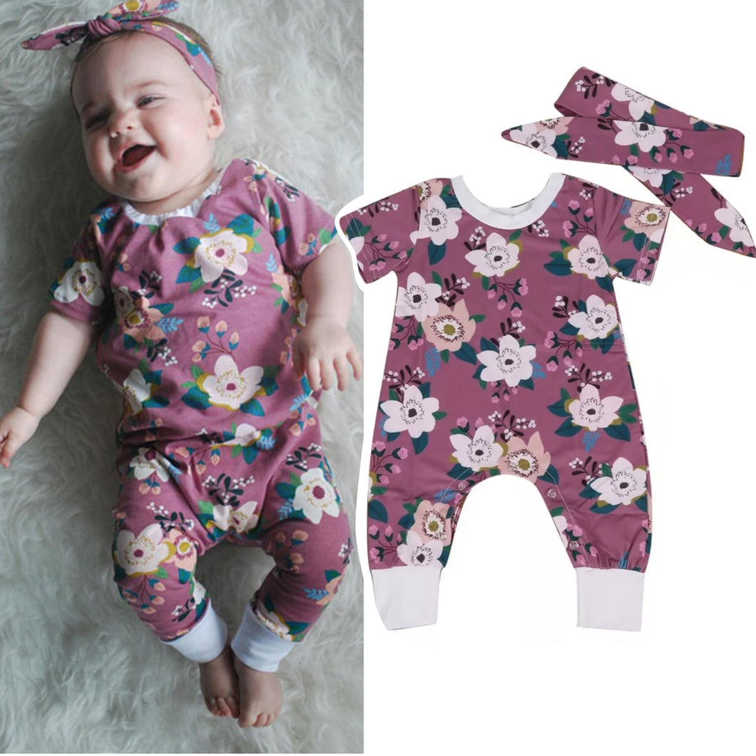 Floral Cotton Romper & Headband - Mom and Bebe Ph