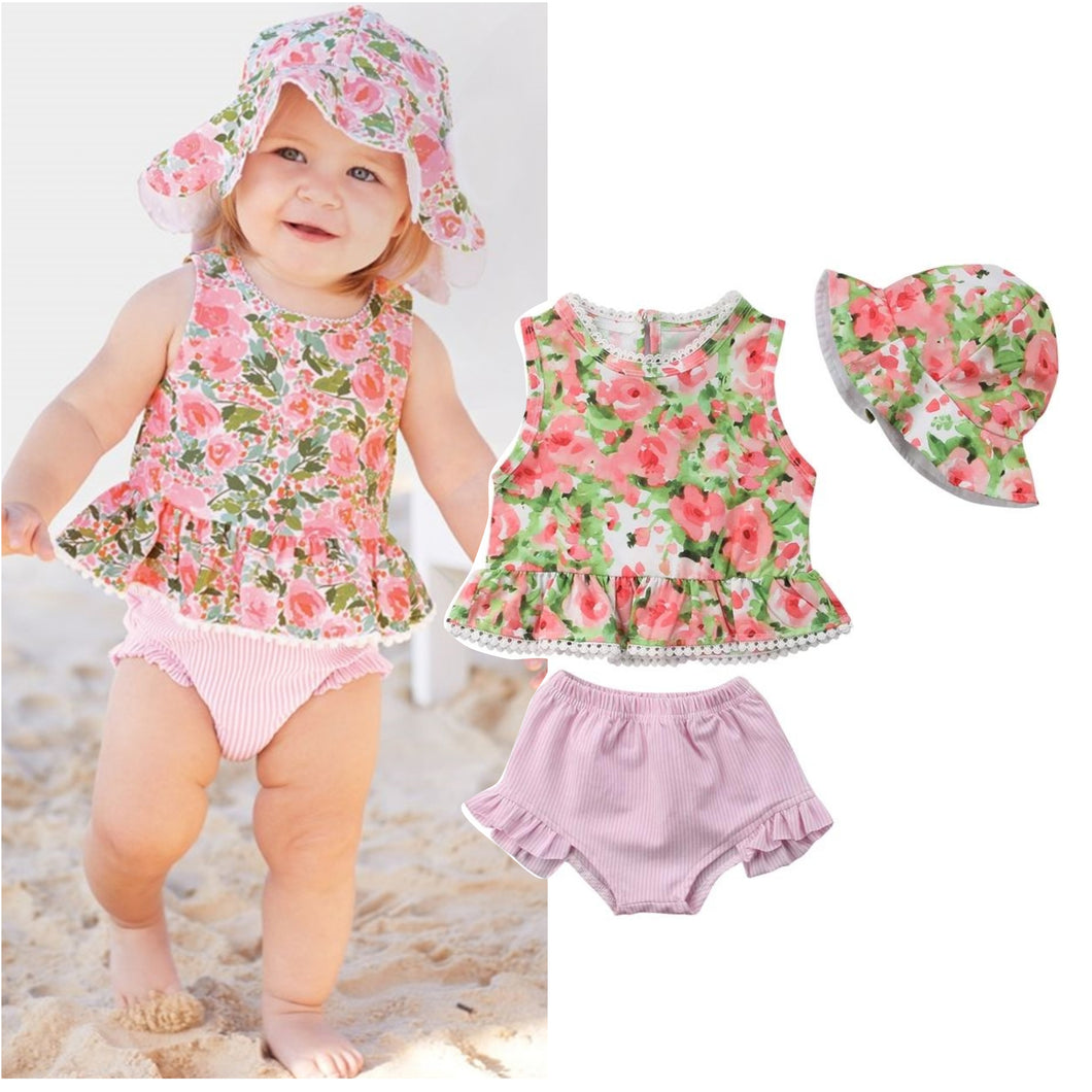 Floral Top Hat & Pink Shorts - Mom and Bebe Ph