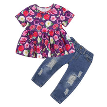 Load image into Gallery viewer, Floral Top & Tattered Jeans - Mom and Bebe Ph