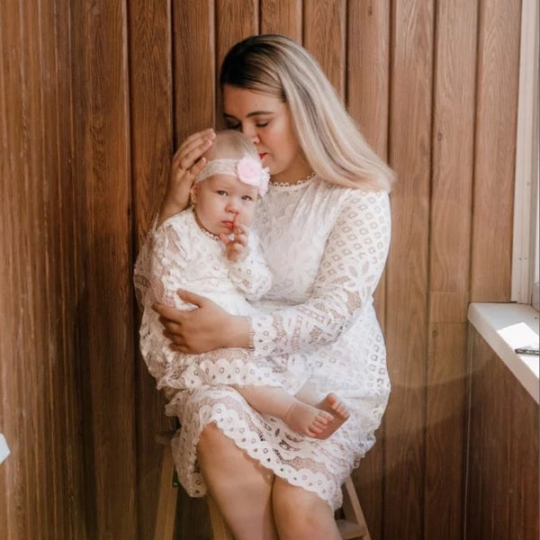 White Lacey Dress Mom & Daughter