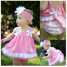 Load image into Gallery viewer, Headband Pink Top Ruffle Pants - Mom and Bebe Ph