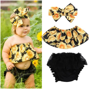 Sunflower Tube Top Shorts Headband - Mom and Bebe Ph