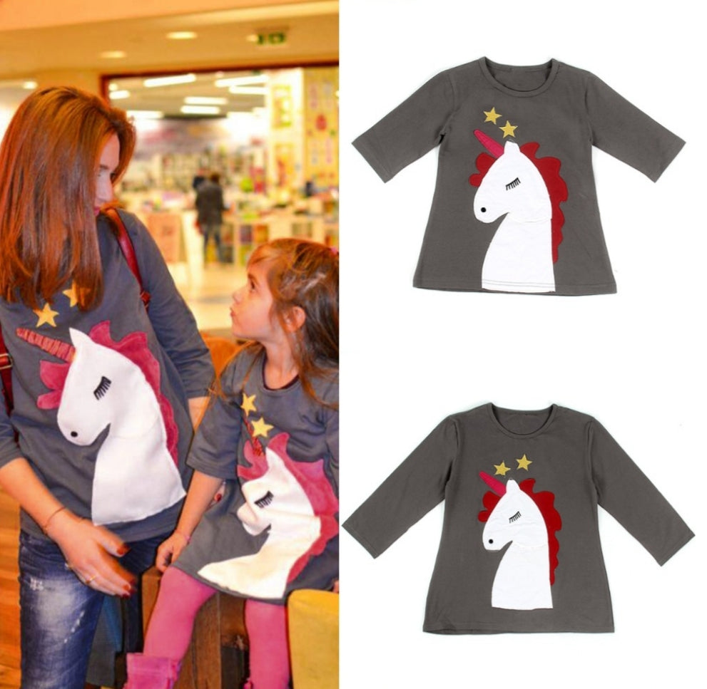 Unicorn Gray Longsleeves Top - Mom and Bebe Ph