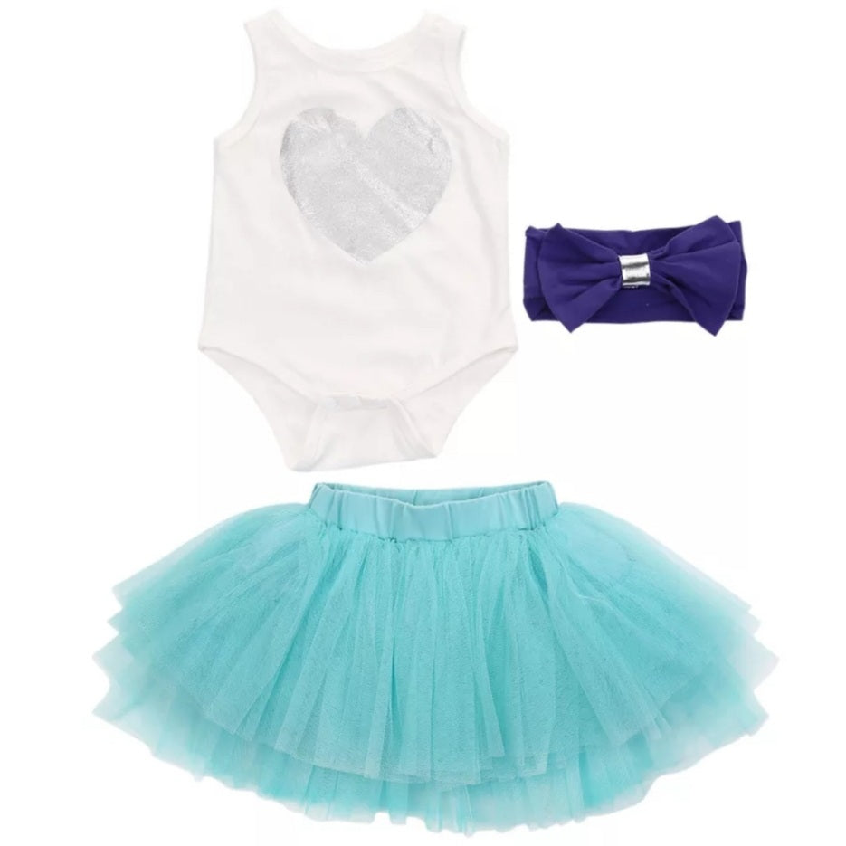 3pc set Tutu Onesie Headband