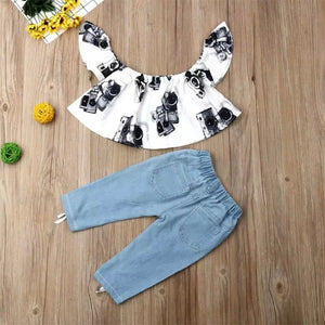 White Floral Top Jeans - Mom and Bebe Ph