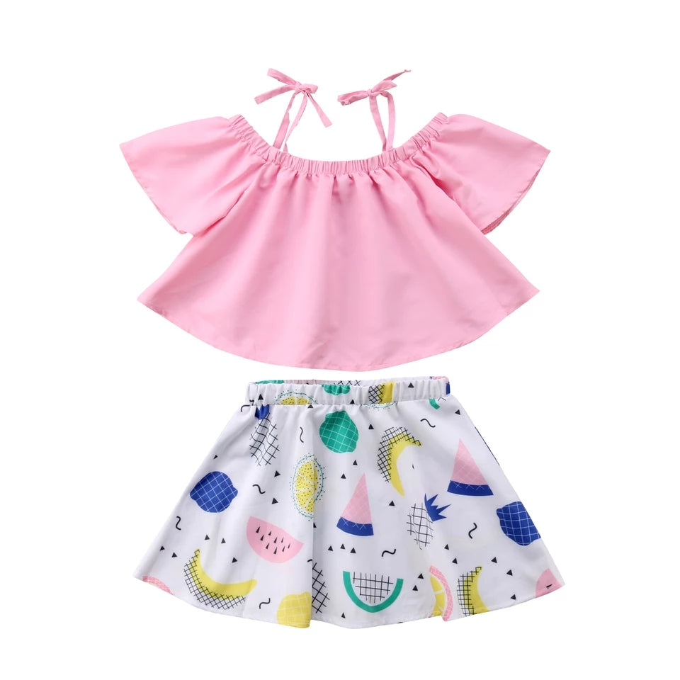 Pink Top & Fruit Skirt - Mom and Bebe Ph