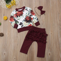 Floral Top Ruffle Pants Headband