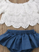 Load image into Gallery viewer, White Lacey Top + Denim Bottom - Mom and Bebe Ph